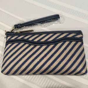 Talbots Zip Top wristlet w/front pocket Blue/Tan